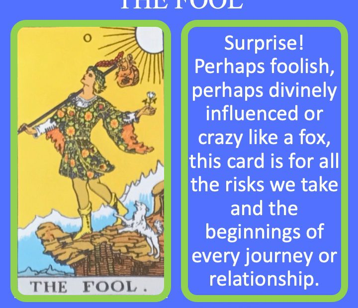 The RWS card shows the Fool about the step off a cliff as they begin the journey through the Tarot. It's meaning include surprise.
