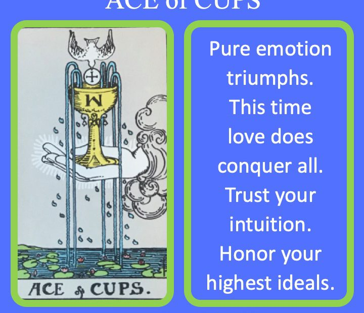 The RWS Minor Arcana Tarot Card, Ace of Cups, shows the Holy Grail over the sea indicating pure ideals and love.