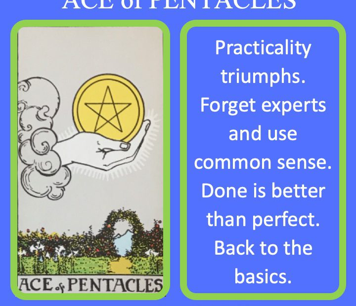 The RWS Minor Arcana Tarot Sword, Ace of Pentacles, shows a hand holding a Pentacle over a fertile land indicating pure practical and mundane work.