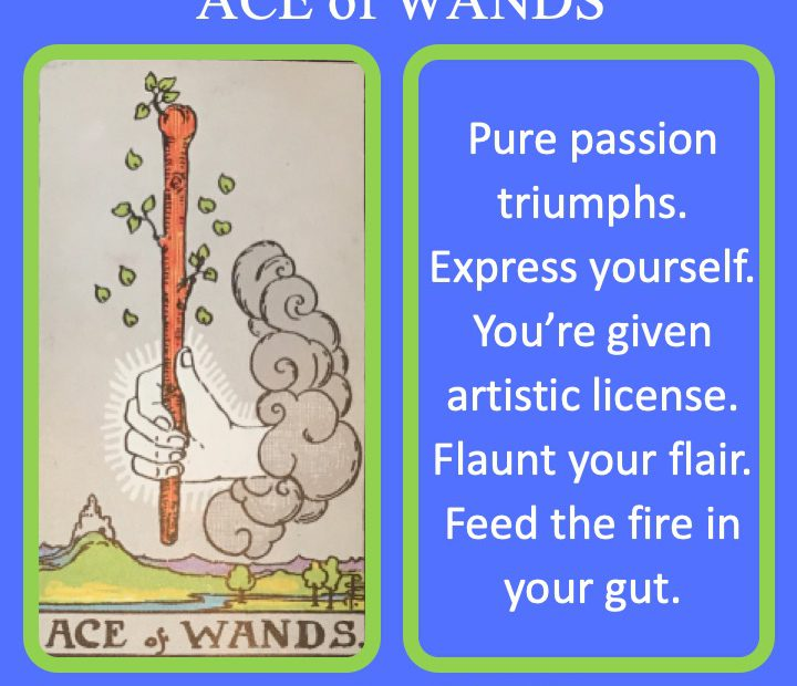 The RWS Minor Arcana Tarot Card, Ace of Wands, shows a living wand over land indicating the rising of passion.
