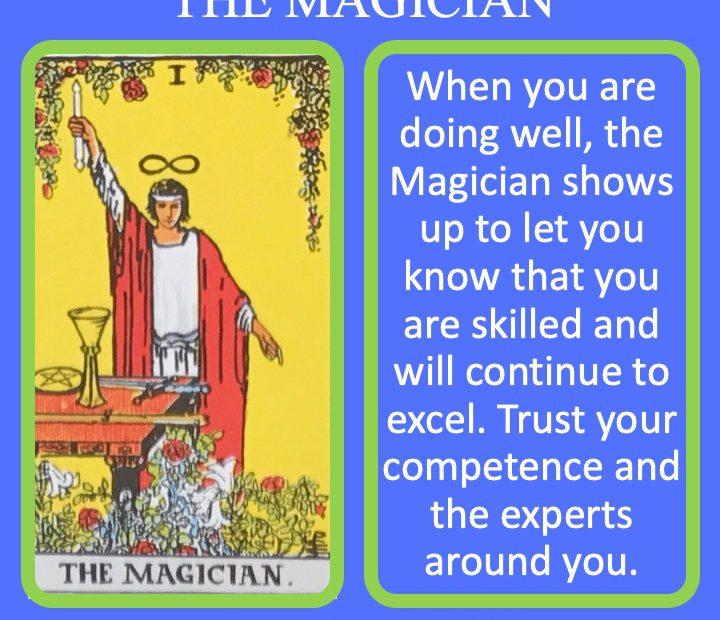 The 2nd RWS Major Arcana Tarot Card shows someone manipulating the 4 elemental tools.
