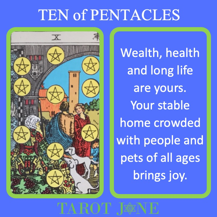 The RWS Minor Arcana Tarot Card shows a multigenerational prosperous family indicating the peak of wealth and health.