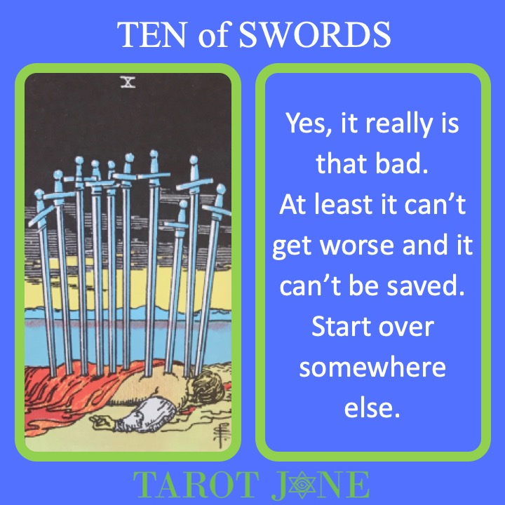 The RWS Minor Arcana Tarot Card, the Ten of Swords, shows a dead body pierced by 10 swords indicating the worst outcome.
