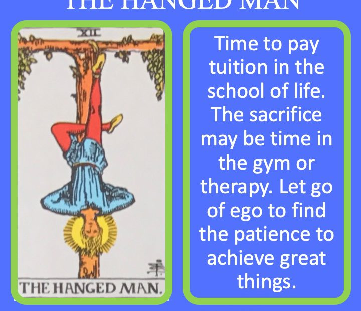 The 13th RWS Major Arcana Tarot Card shows a man hanging by his ankle and represents the sacrifices made.