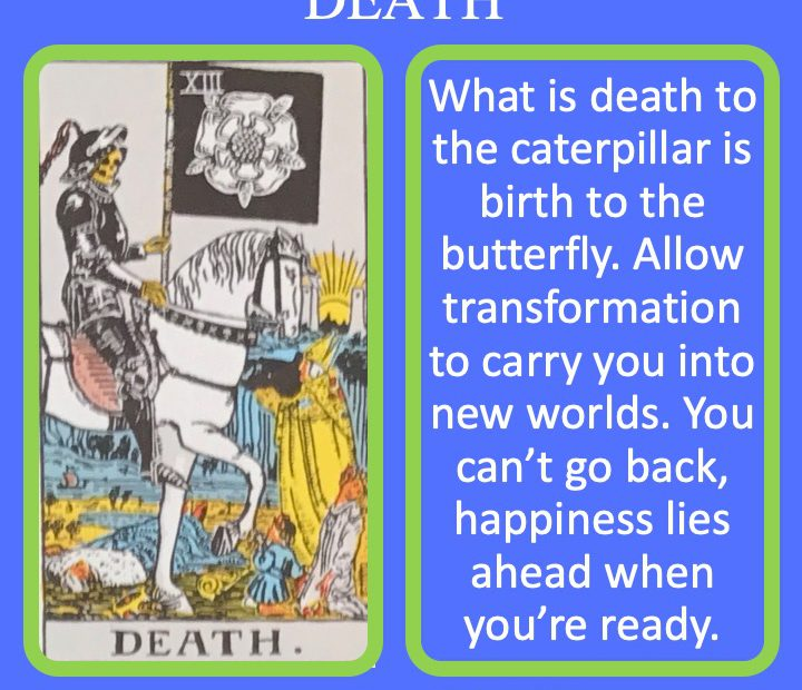 The 14th RWS Major Arcana Tarot Card shows Death riding a white horse signifying transformation.