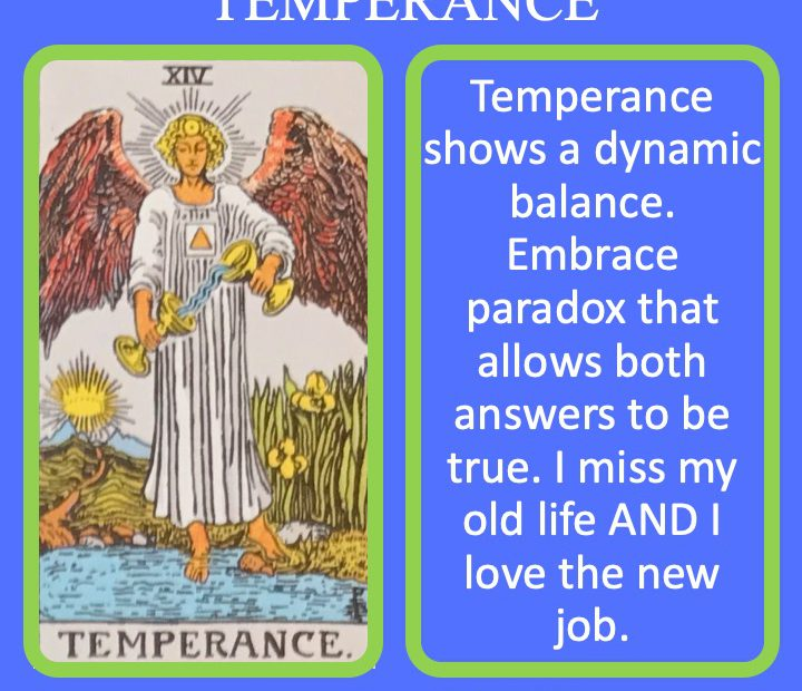 The 15th RWS Major Arcana Tarot Card shows an angel pouring water between two cups and indicating dynamic balance.