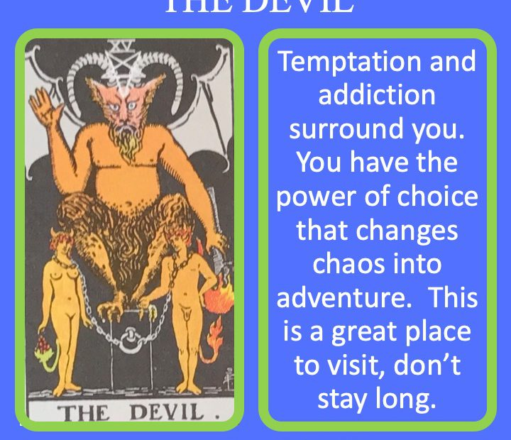 The 16th RWS Major Arcana Tarot Card shows a horned devil with two chained people indicating the prison created by addiction.