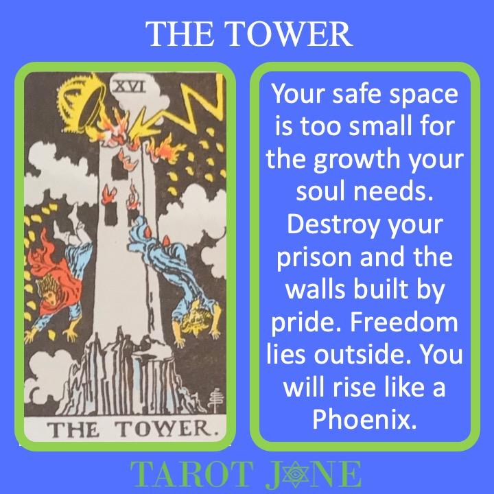 The 17th RWS Major Arcana Tarot Card shows a tower struck by lightning indicating destruction.
