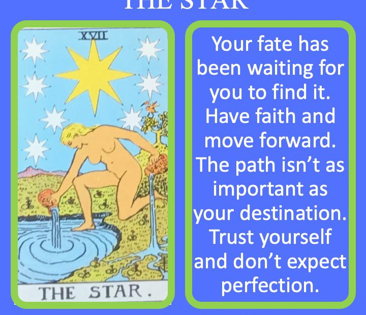 The 18th RWS Major Arcana Tarot Card offers a women with stars in the sky indicating the power of fate.