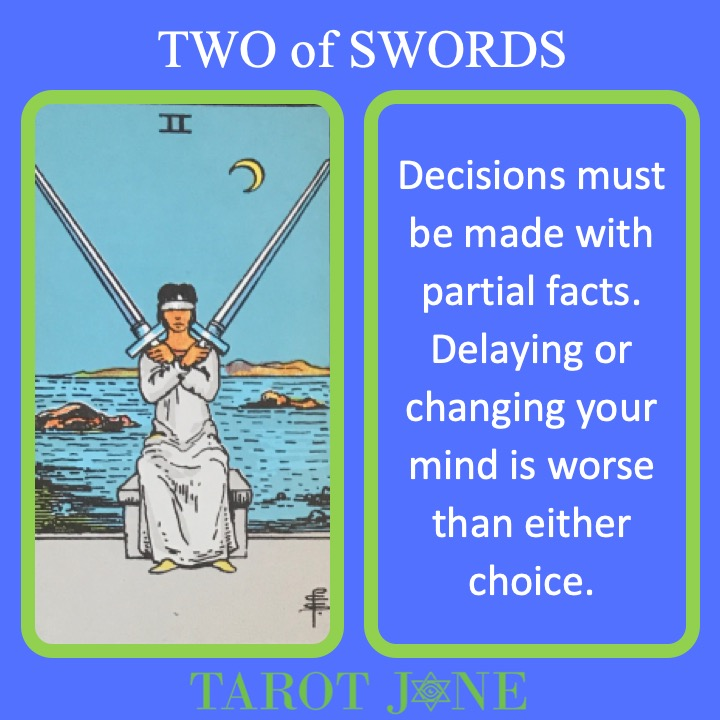 The RWS Minor Arcana Tarot Card, 2 of Swords, shows blind justice holding 2 swords, indicating a time of objective judgement.