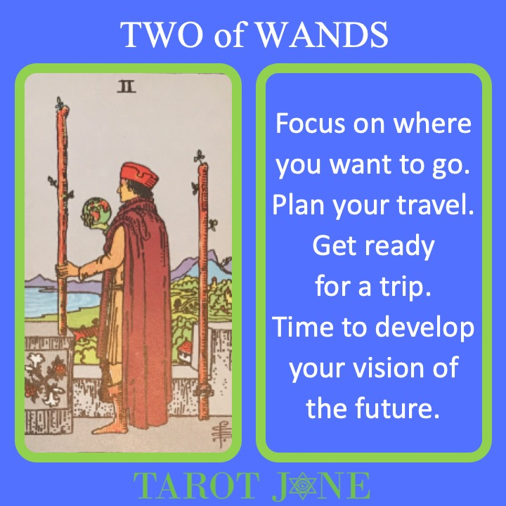 The RWS Minor Arcana Tarot Card, 2 of Wands, shows a traveler holding a globe with walking staffs indicating the need to plan how to get somewhere.