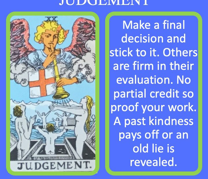 The 21st RWS Major Arcana Tarot Card shows an angel blowing the horn on Judgement Day indicating an time of reckoning.