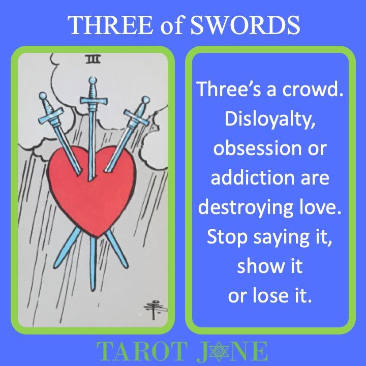 The RWS Minor Arcana Tarot Card, 3 of Swords, shows a heart pierced by three swords indicating a broken heart.