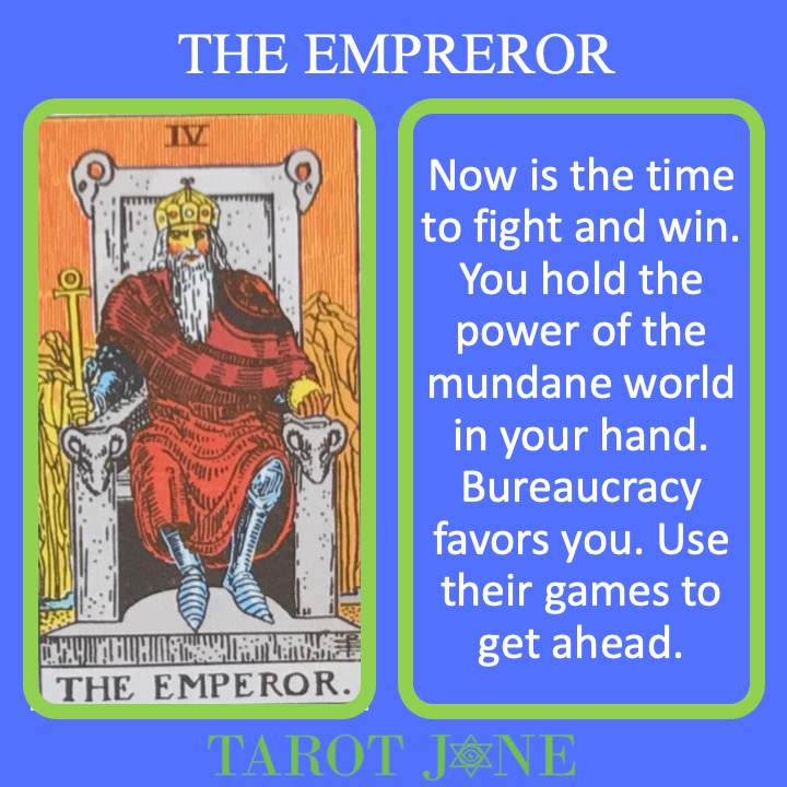 The 5th RWS Major Arcana Tarot card shows a powerful Emperor on his throne and indicates mundane hierarchical authority.