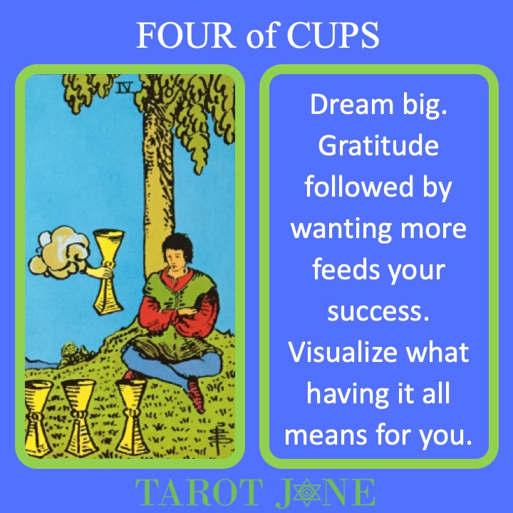 The RWS Minor Arcana Tarot Card, 4 of Cups, shows a figure under a tree with a hand offering a cup indicating a time of dreaming.