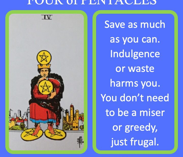 The RWS Minor Arcana Tarot Card, 4 of Pentacles, shows a miser grasping coins indicating the hoarding of money.