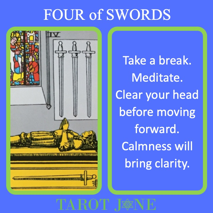 The RWS Minor Arcana Tarot Cards, 4 of Swords, shows a resting figure indicating a time to recover.
