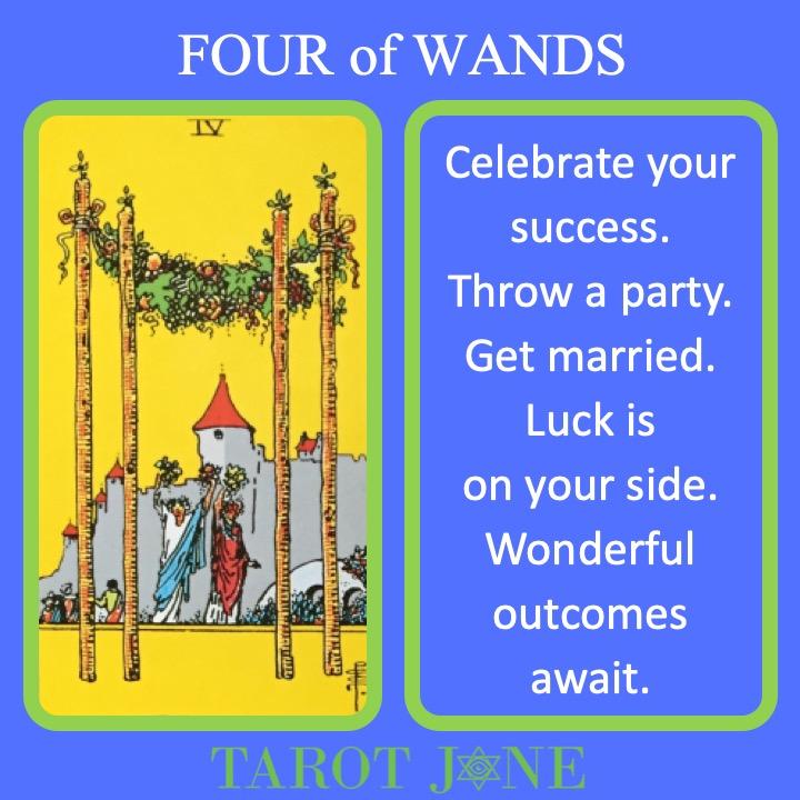 The RWS Minor Arcana Tarot Card, 4 of Wands, shows a wedding celebration indicating a joyous time.