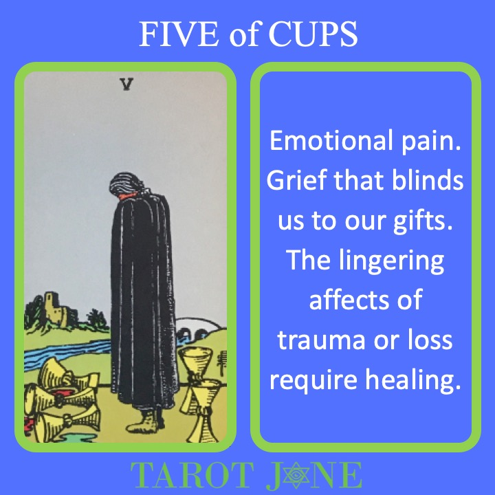 The RWS Minor Arcana Tarot Card, 5 of Cups, shows a figure grieving over 3 spilled cups indicating a time of loss.