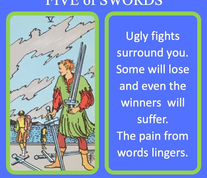 The RWS Minor Arcana Tarot Card, the 5 of Swords, shows a fighter looking back on those who lost their swords indicating painful battles.
