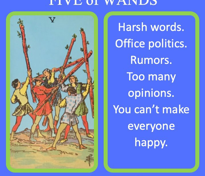 The RWS Minor Arcana Tarot Card, 5 of Wands, shows fighting with staffs indicating conflict.