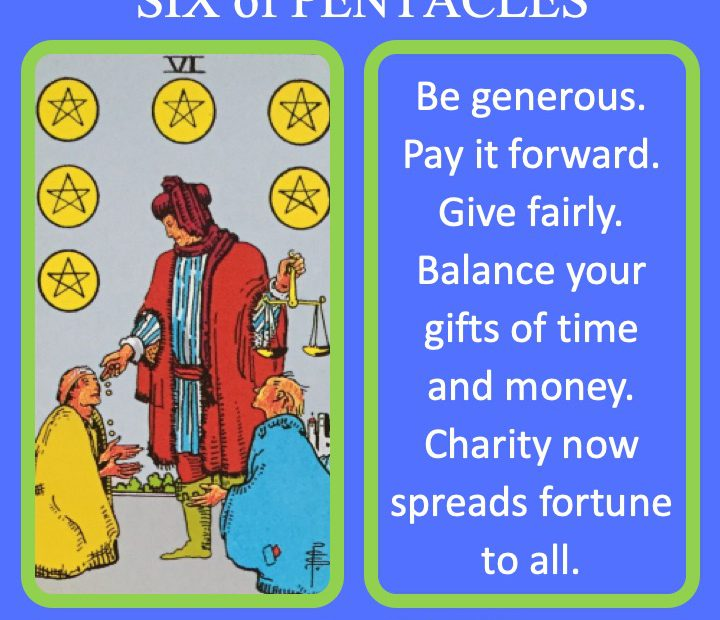 The RWS Minor Arcana Tarot Card, 6 of Pentacles, shows a wealthy figure weighing their charitable gifts indicating the need for balanced generosity.