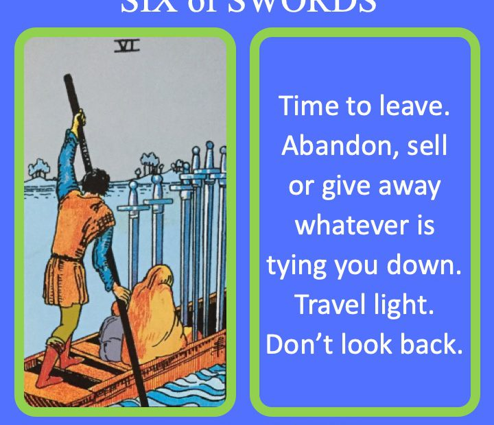 The RWS Minor Arcana Tarot Card, 6 of Swords, shows a boat crossing the River Styx indicating a time of no return.