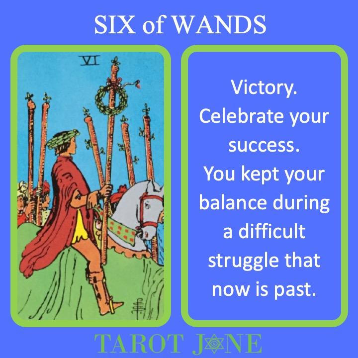 The RWS Minor Arcana Tarot Card, 6 of Wands, shows a triumphant parade indicating great success.
