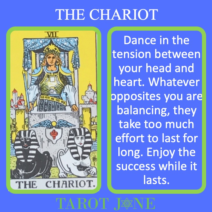 The 8th RWS Major Arcana Tarot card shows a charioteer holding the reigns of two opposite mounts and indicates a short season in the sun.
