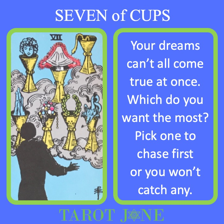 The RWS Minor Arcana Tarot Card, 7 of Cups, shows a dreamer with 7 different fantasies like castles in the sky indicating a multitude of desires.