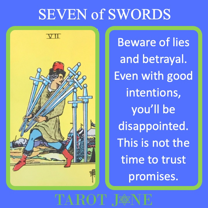 The RWS Minor Arcana Tarot Card, 7 of Swords, shows a thief carrying off swords indicating lies and betrayal.