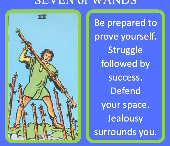 The RWS Minor Arcana Tarot Card, 7 of Wands, shows a fighter defending their high ground indicating a need to defend your positions of power.