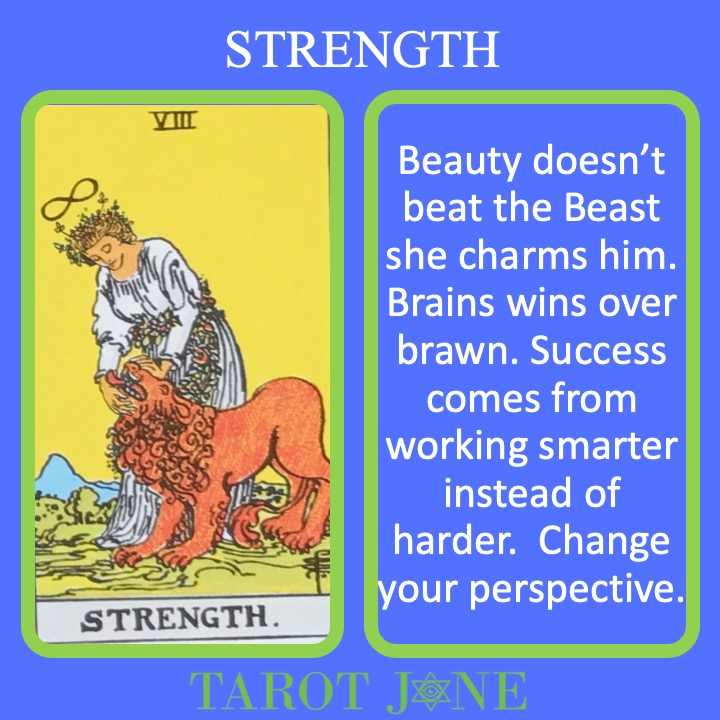 The 9th RWS Major Arcana Card shows a woman taming a lion and indicates that charm soothes the savage beast.