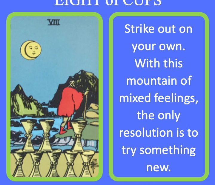 The RWS Minor Arcana Tarot Card, the 8 of Cups, shows a figure walking away from 8 cups indicating the time for emotional distance.