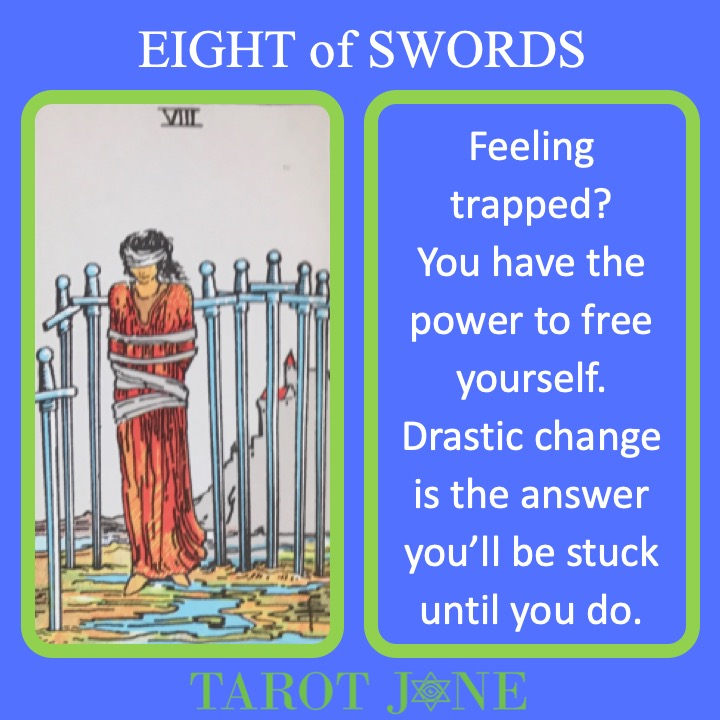 The RWS Minor Arcana Tarot Card, 8 of Swords, shows an imprisoned figure indicating the willingness to allow yourself to be trapped.