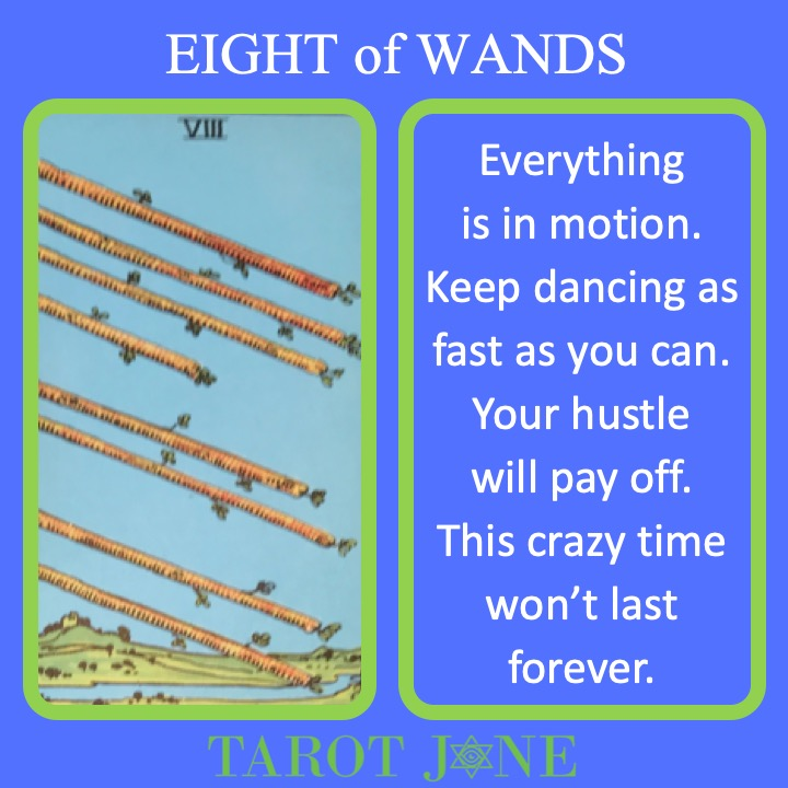 The RWS Minor Arcana Tarot Card, 8 of Wands, shows 8 wands flashing through the air indicating quick and active movement.