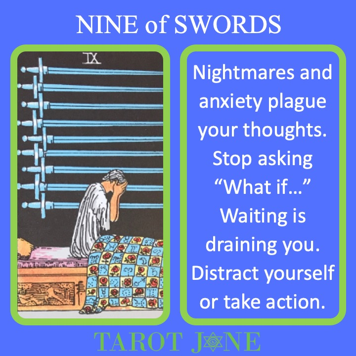 The RWS Minor Arcana Tarot Card, the 9 of Swords, shows a sleeper waking from a nightmare with 9 swords hanging over their bed indicating the damage done by fear.