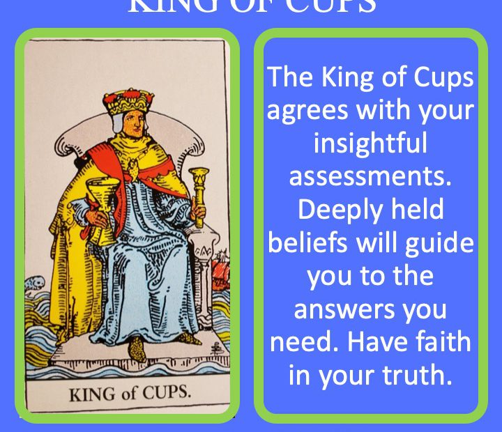 The RWS King of Cups holds a chalice and indicates emotional authority.