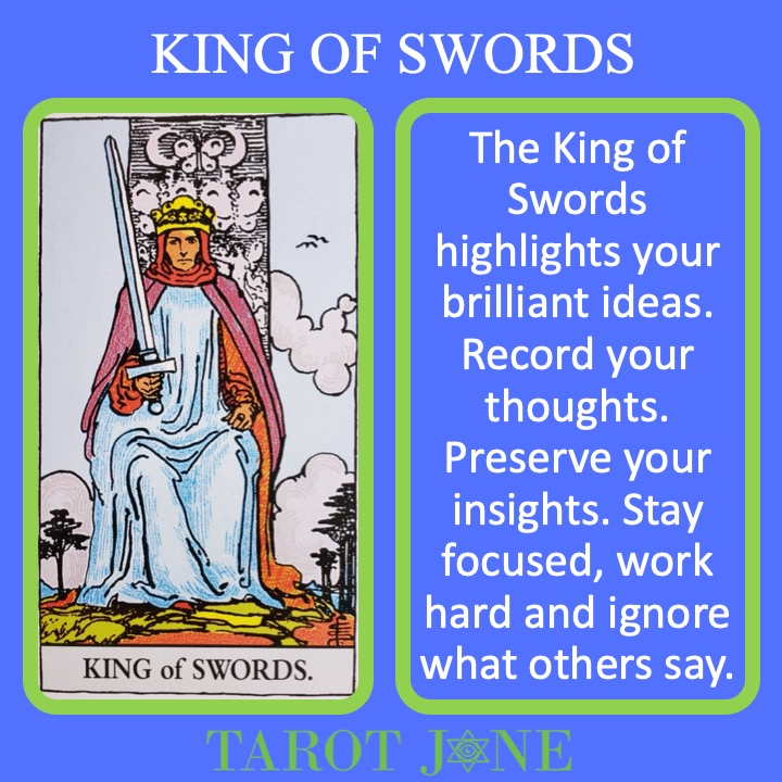 The RWS Minor Arcana King of Swords shows a King holding a sword indicating intellectual authority.