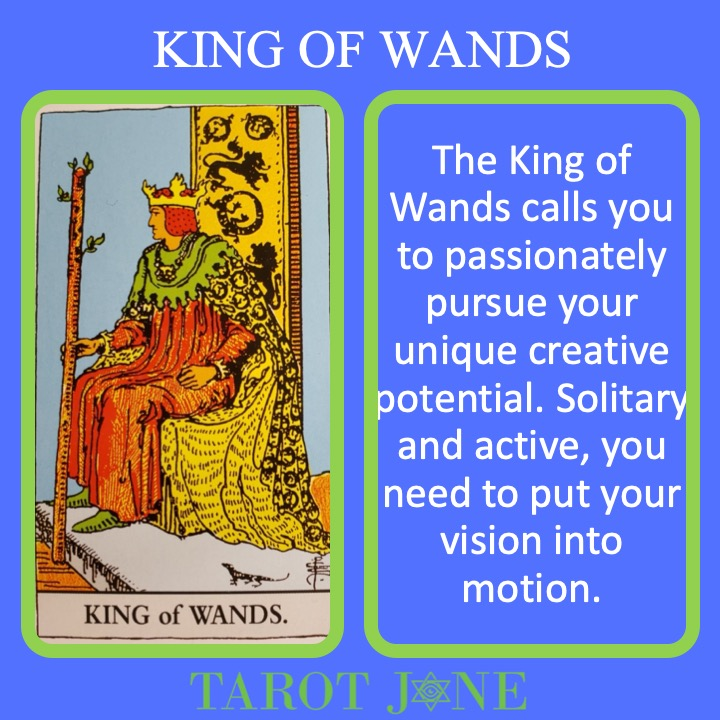 The RWS King of Wands holds a living septor showing his passionate authority.
