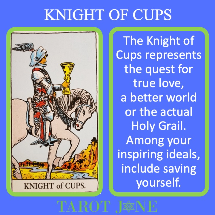 The RWS Court Card of the Knight of Cups shows the knight Galahad holding the Holy Grail and indicates the pursuit of high ideals and/or true love.