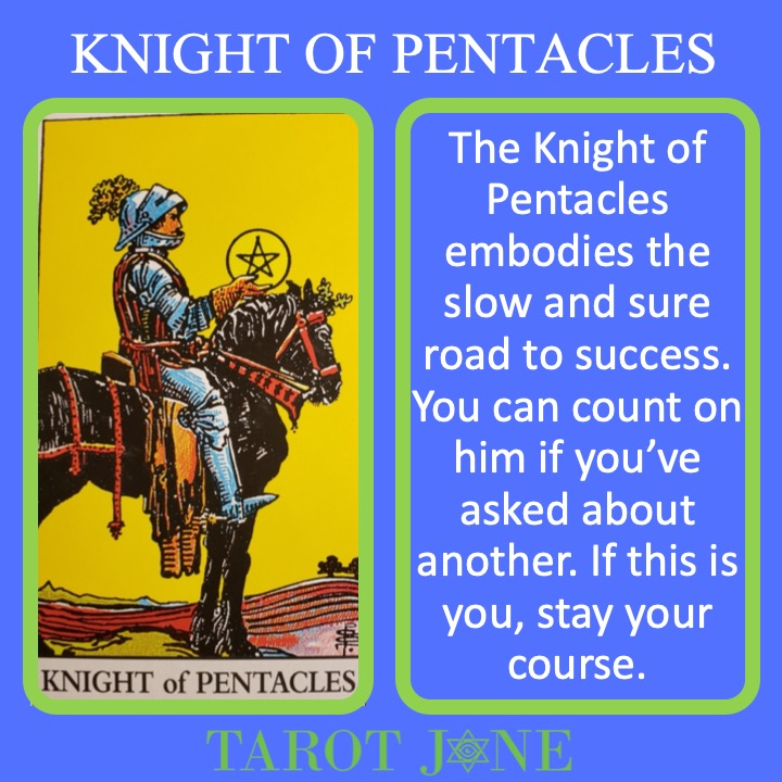 The RWS Court Card of the Knight of Pentacles shows a knight sitting quietly on a horse and indicates slow and practical movement.
