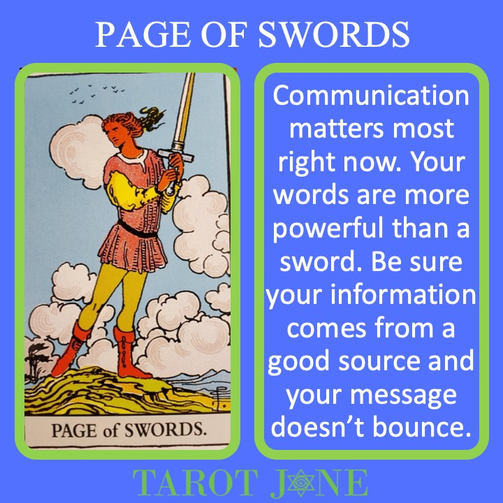 The RWS Court Card, the Page of Swords, shows a youth in motion with a raised sword indicating the speed and power of speech.