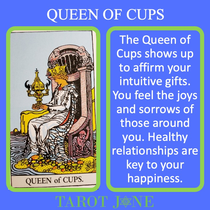 The RWS Minor Arcana Queen of Cups holds the Holy Grail and provides emotional and intuitive leadership.
