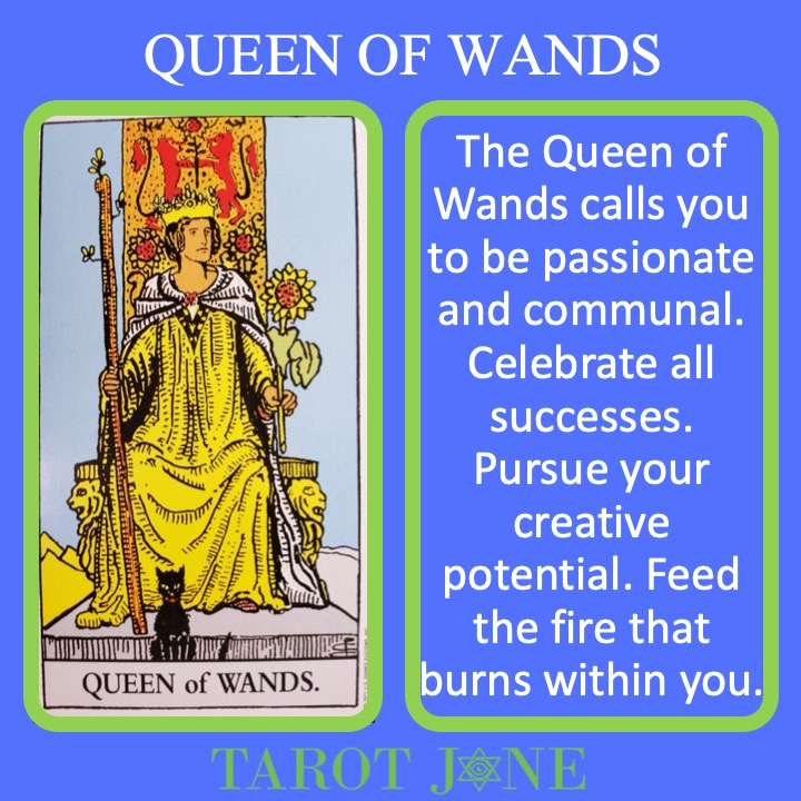 The RWS Court Card Queen of Wands shows a queen holding a living scepter indicating passionate leadership.