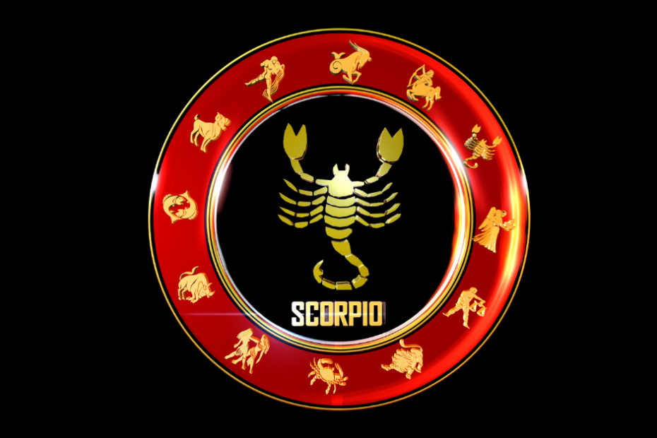 The Scorpion is centered in a zodiacal wheel.