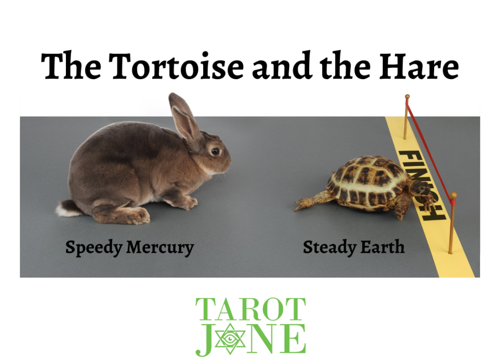 Steady Earth as the Tortoise reaches the finish line ahead of Speedy Mercury as the Hare.